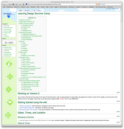 Learning Design Summer Camp Wiki