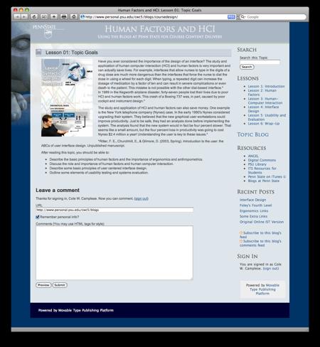 HCI in a Blog